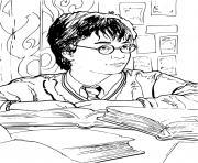 harry etudie et fait la revision dessin à colorier