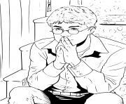 harry potter assis sur les marches en reflexion dessin à colorier