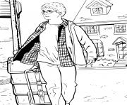 harry potter demenage avec sa valise dessin à colorier