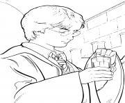 harry prend la potion dessin à colorier