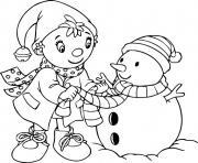 oui oui fait un bonhomme de neige hiver dessin à colorier