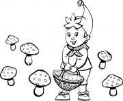 oui oui recolte des champignons dessin à colorier