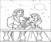 la belle et son prince charmant dessin à colorier