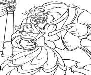 une danse avec la belle et la bete dessin à colorier