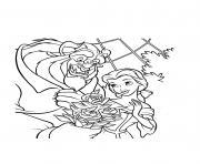 bouquet de roses la belle et la bete disney dessin à colorier