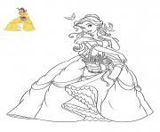 princesse la belle et la bete dessin à colorier