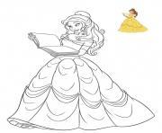 princesse disney la belle dessin à colorier