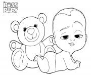 Coloriage boss baby and teddy a4
