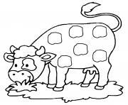 adorable vache qui mange dessin à colorier