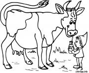 vache qui boit du lait dessin à colorier