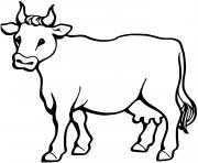 vache de la famille bovide dessin à colorier