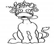 vache drole rigolo dessin à colorier
