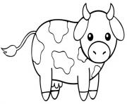 vache kawaii dessin à colorier