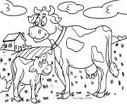 vache veau sur une ferme dessin à colorier