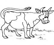vache joyeuse dans une ferme dessin à colorier