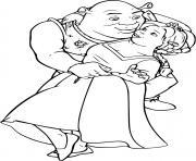 Fiona dans les bras de l ogre Shrek dessin à colorier