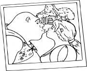 Shrek et Fiona s embrassent dessin à colorier