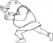 L ogre Shrek pousse quelque chose dessin à colorier