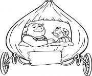 Shrek et Fiona dans leur carosse dessin à colorier