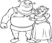 Shrek et Fiona dessin à colorier