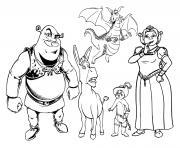 Personnages DreamWorks Shrek dessin à colorier