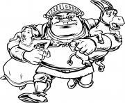 Shrek avec une armure et Fiona et l ane dessin à colorier