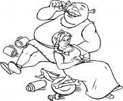 Shrek et Fiona apres un repas dessin à colorier