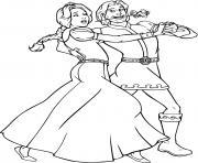 Fiona et Charmant dansent dessin à colorier