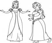 princesse fiona et sa maman la reine dessin à colorier