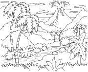 volan en eruption dans une foret tropicale dessin à colorier