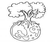 arbre les racines de la planete terre nature dessin à colorier