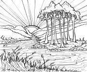couche de soleil en plein nature lav et arbres dessin à colorier