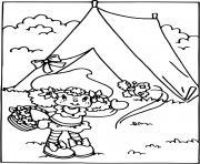 Charlotte aux fraises fait du camping dessin à colorier