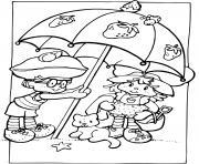 Charlotte aux fraises sous un parasol dessin à colorier