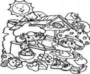 Charlotte aux fraises et ses amis dessin à colorier