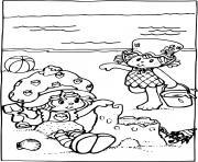 Charlotte aux fraises construit un chateau de sable dessin à colorier