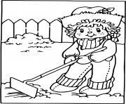 Charlotte aux fraises fait du jardinage dessin à colorier