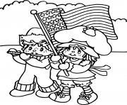Charlotte aux fraises avec de drapeau americain dessin à colorier