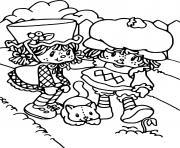 Charlotte aux fraises et un chat dessin à colorier