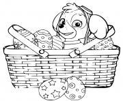 stella dans un panier oeufs de paques paw patrol dessin à colorier