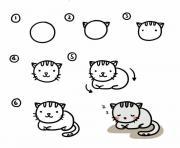 chat dessin animaux mignon facile a reproduire dessin à colorier
