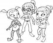 vampirina soiree pyjama entre filles dessin à colorier