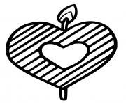 Bougie en forme de cœur dessin à colorier