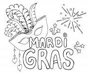 mardi gras avec masque et feux artifices dessin à colorier