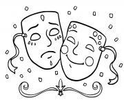 deux masques de carnaval triste et joyeux dessin à colorier