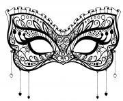 masque carnaval dentelle coeur discret dessin à colorier