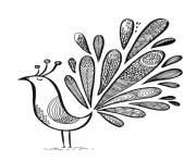 paon chic oiseau grand plumage dessin à colorier