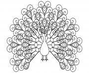 paon oiseau forme de coeurs dessin à colorier