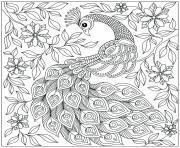 magnifique paon avec des fleurs dessin à colorier