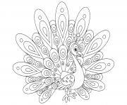 paon oiseau bleu dessin à colorier